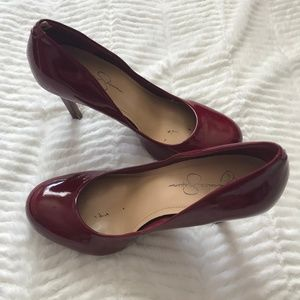 Red Patent Leather Jessica Simpson Heels Like New
